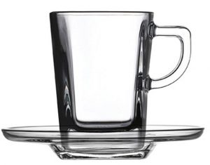Pasabahce Carre Servizio Tazze Caffe con Piatto, Vetro, Trasparente