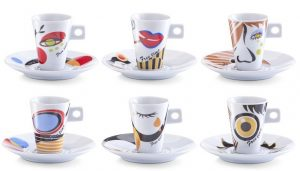 Zeller Set Tazzine da Caffe Faces in Porcellana Multicolore